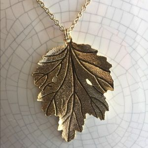 Gold necklace - leaf charm - cookie lee